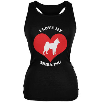 Valentines I Love My Shiba Inu Black Juniors Soft Tank Top