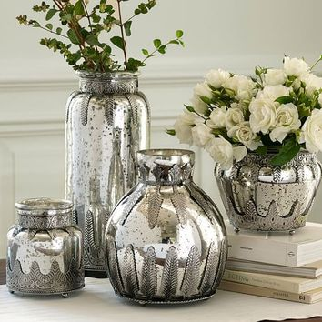 Madeline Mercury Glass Metal Vases From Pottery Barn