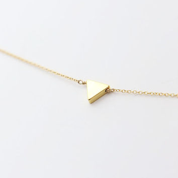 Tiny gold triangle necklace - Simple triangle necklace // gift for her EN008