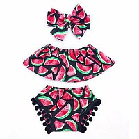 3PCs Watermelon set Children clothes Toddler Baby Girls Tops +Pants+Headband Kids Clothes Outfits Set