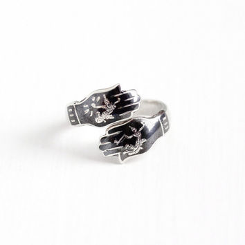 Vintage Sterling Silver Siam Hand Design Bypass Ring - Adjustable 1940s Black Niello Wrap Thailand Nielloware Mekkala & Ramasoon Jewelry