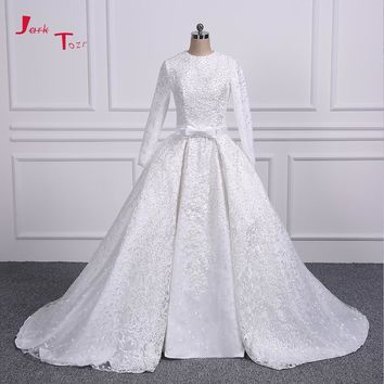 Jark Tozr Long Sleeve Lace China Bridal Gowns Vestidos De Renda All Over Pearls Luxury Muslim Wedding Dresses Detachable Train