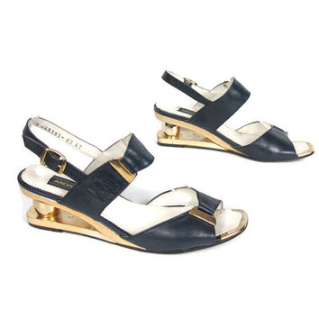 80s Avant Garde Cut Out Wedges Sandals Strappy Heels Gold Navy Blue Leather Wearable Art (7)