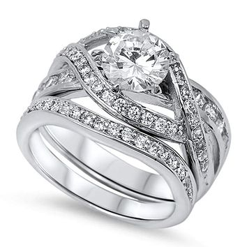 Sterling Silver Twisted Halo Cubic Zirconia Engagement Ring Bridal Set