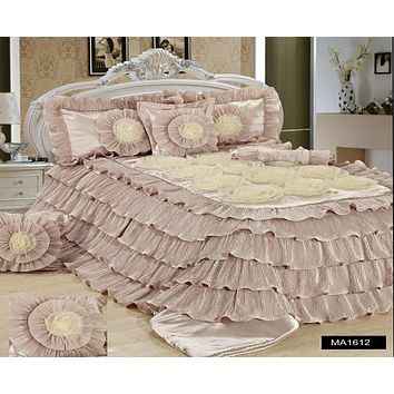 Tache 6 Piece Luxury Beige Cinnamon Chai Ruffled Comforter Set (MA1612)