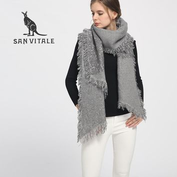 SAN VITALE Womens Shawls Winter Warm Scarf Luxury Brand Soft Fashion Thicken Plaid Wraps Wool Cashmere Capes Clothes for Women