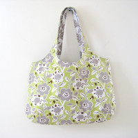 Green Floral Tote Bag, Green and Taupe Floral Bag, Large Purse, Beach Bag, Book Bag, in Japanese Canvas, Ready to Ship