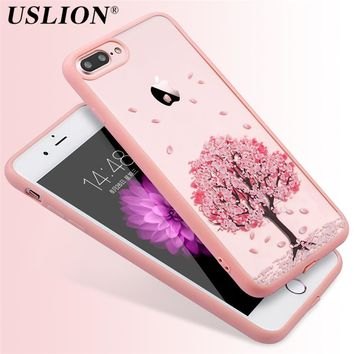 Phone Case For iPhone 7 7 Plus 6 6s Plus 5 5s SE 4 4S Cartoon Cherry Tree Flowers Cat Pattern Acrylic Mobile Phone Case Shell