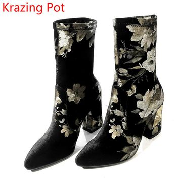 2018 New Arrival Velvt Fashion Boots Pointed Toe Flowers Print Thick High Heels Runway Handmade Chelsea Women Mid-calf Boots L07