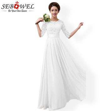 SEBOWEL Long White Party Dress Summer Women Elegant Maxi Lace Party Dress Plus Size Female Floor Length Pleated Chiffon Dress