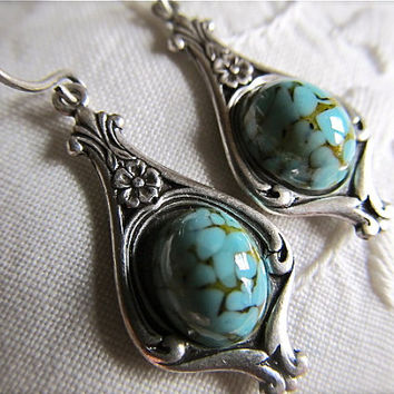 Art Nouveau Earrings Turquoise Earrings 1920s Sterling Silver Earrings Dangle Earrings Turquoise- Beloved