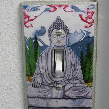 Buddha light switch plate cover spiritual peaceful art buddah statue
