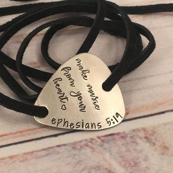 """Make music from your heart"" Guitar Pick leather wrap bracelet"