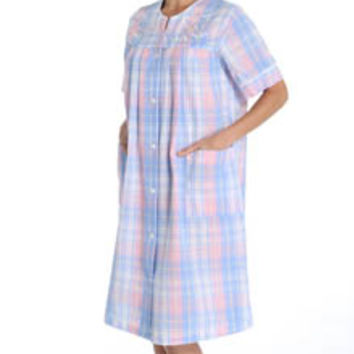 Miss Elaine 854665 Seersucker Plaid Short Snap Front Robe