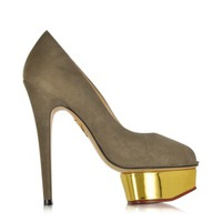 Charlotte Olympia Designer Shoes Daphne Warm Grey Suede Gold Platform Pump