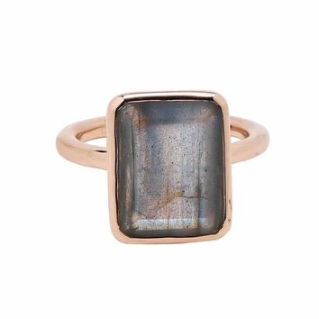 Large Baguette Rose Gold Bezel Ring