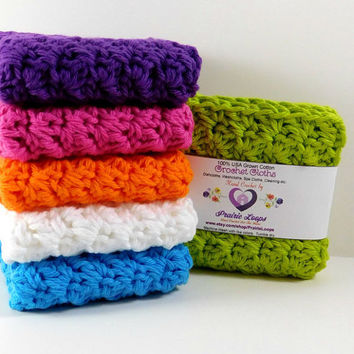 Crochet Washcloths, Rainbow Brights, SET OF 6, Washcloths, Dishcloths, Spa, Cotton Crochet Dishcloths