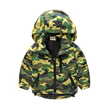 2018 New Children Camo Hooded Jackets For Boy Girls Camouflage Zipper Windbreaker Kids Long Sleeve Casual Outdoor Clothes CMB409