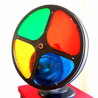 1950s MID CENTURY CHRISTMAS Vintage Light Motorized Spinning Round Color Wheel Disc Projector Lamp Retro 50s Holiday Decor