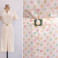 1940s Dress - Vintage 40s Cream Cotton Polka Dot Dress - Celia Dress