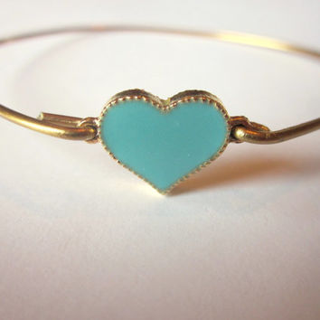 Gold Turquoise Mint Heart Bangle Bracelet Gold Charm - Stackable Bangle Bracelet - Valentine Gift - Bridesmaid Gift - Gift under 15