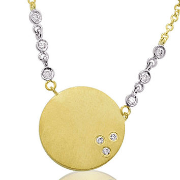 Yellow Gold Disc Necklace with Pave Diamonds