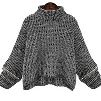 Turtleneck Sweater for  Oversized Loose Batwing Sleeve Zipper Patchwork Pullover and Knitwear Outwear Streetwear Pull