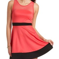 Two-Tone Mesh Yoke Skater Dress by Charlotte Russe - Coral