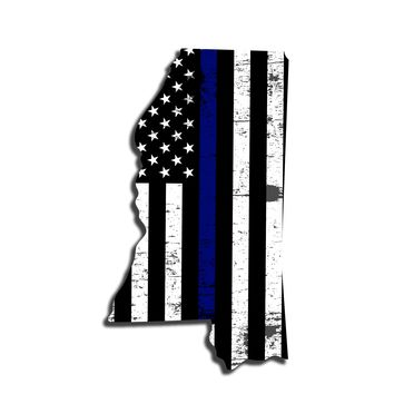 Mississippi Distressed Subdued US Flag Thin Blue Line/Thin Red Line/Thin Green Line Sticker. Support Police/Firefighters/Military