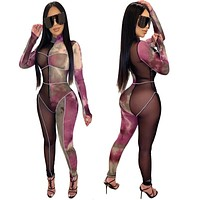 Women Sexy Tie Dye Sheer Mesh Front Zipper Long Sleeve Jumpsuit