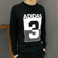 Adidas Autumn and winter fashion New letter number 3 print men leisure sports long sleeve sweater top Black