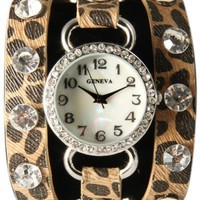 Cheetah Wrap Around Watch with Bling Sparkly White Rhinestones