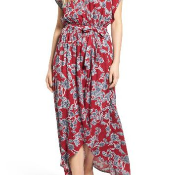 Splendid Etched Floral Faux Wrap Dress | Nordstrom