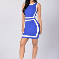 Allison Dress - Royal/White