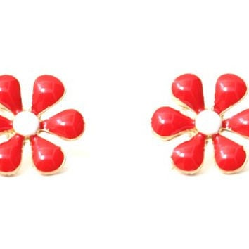 Flower Power Earrings Vintage Red Floral ED08 Retro Hippie Studs Fashion Jewelry