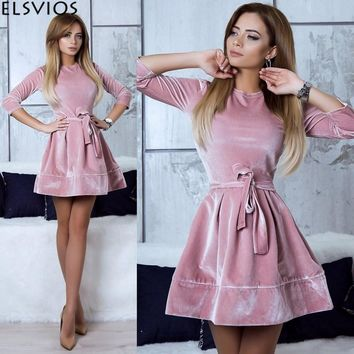 ELSVIOS Women Retro Velvet Dress 2018 Korean Style Autumn Winter Party Dresses Casual Three Quarter Elegant Mini Dress With Belt