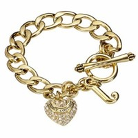 Juicy Couture Starter Pave Heart Charm Bracelet @ Jewelry Wonder