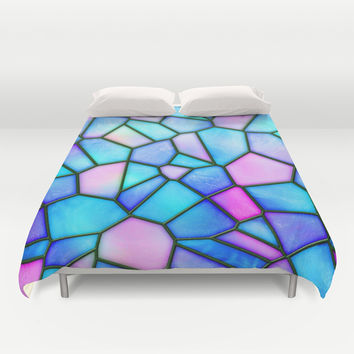 pastel stained glass Duvet Cover by Haroulita