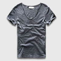 Men Basic T-Shirt Solid Cotton V Neck Slim Fit
