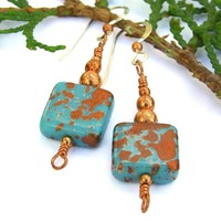 Handmade Earrings Turquoise Copper Czech Glass Unique Jewelry Dangle