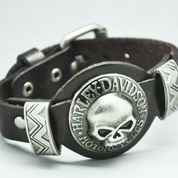 Leather Bracelet Skull for Harley Davidson Lovers ML1014