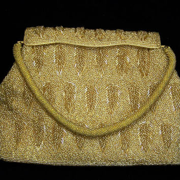 Gold Seed Beaded Evening Purse, Glass Bugle Bead Leaf Design, Mid Century Evening Bag, New Years Eve, Gold Tone Frame  817