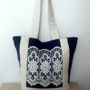 Navy lace tote, linen tote, large tote bag, summer tote, beach bag