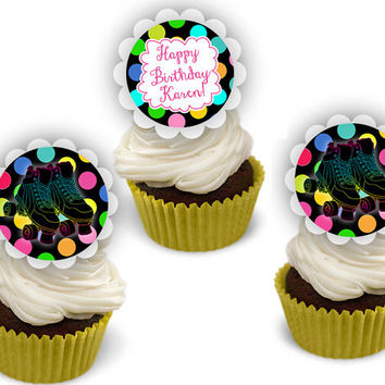 Neon Skating Party Cupcake Toppers - Roller Skate Birthday Cupcake Toppers - Girl Neon Skates Birthday - Glow - Personalized - Custom -