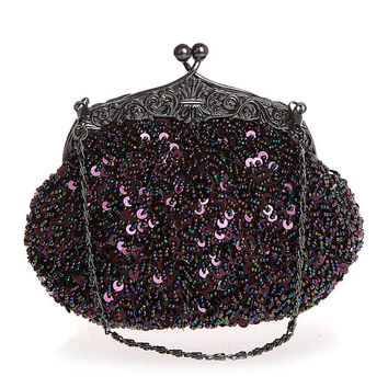 Purple Beaded Clutch purse–wedding clutch purse-evening bag-hand made