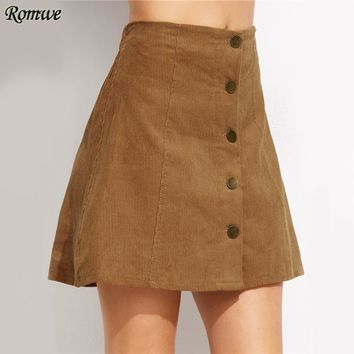 Khaki Corduroy Mini Skirt Woman Cute Single Breasted A Line Autumn Skirts Fashion New Button Up Slim High Waist Skirt