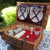 Wicker Suitcase Picnic Set Vintage Picnic Basket Service for Four Made in England