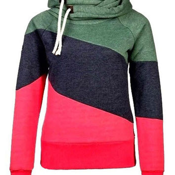 Stitching Color Long Sleeve Hooded Jacket