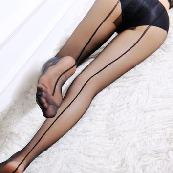 HSS Brand High Quality Women Pantyhose Red Stripe Sexy Slim tights T crotch transparent Silk Stockings for Ladies