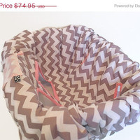 ON SALE Girl's Pink & Grey Chevron Reversible Shopping Cart Cover, Padded Cotton Baby Cart Seat Cover, Shopping Cart Seat,Cart Liner, Toddl